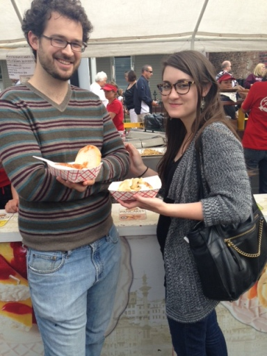 Daniel and Kaitlin enjoying Pierogi Fest's offerings.