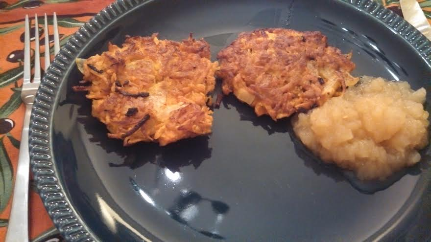 Sweet potato pancakes with home made applesauce.