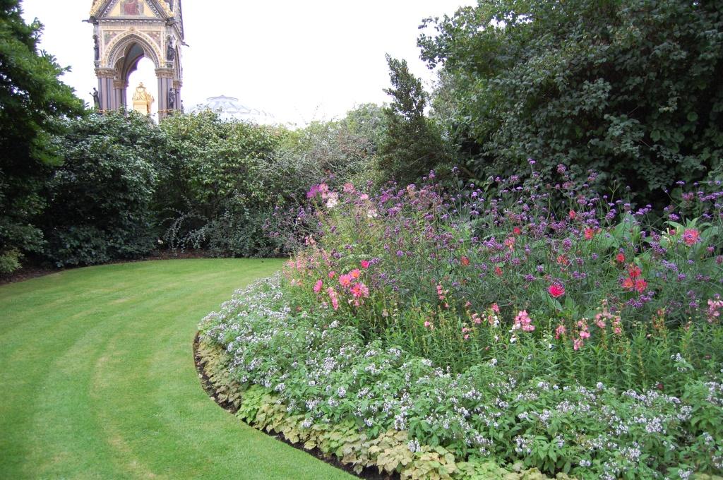 Kensington Garden flower walk with Albert Memorial in the background.
