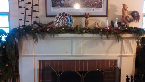 Garland on the mantel.