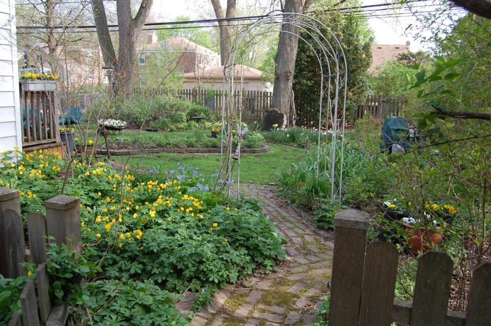 Brick path into the back garden.