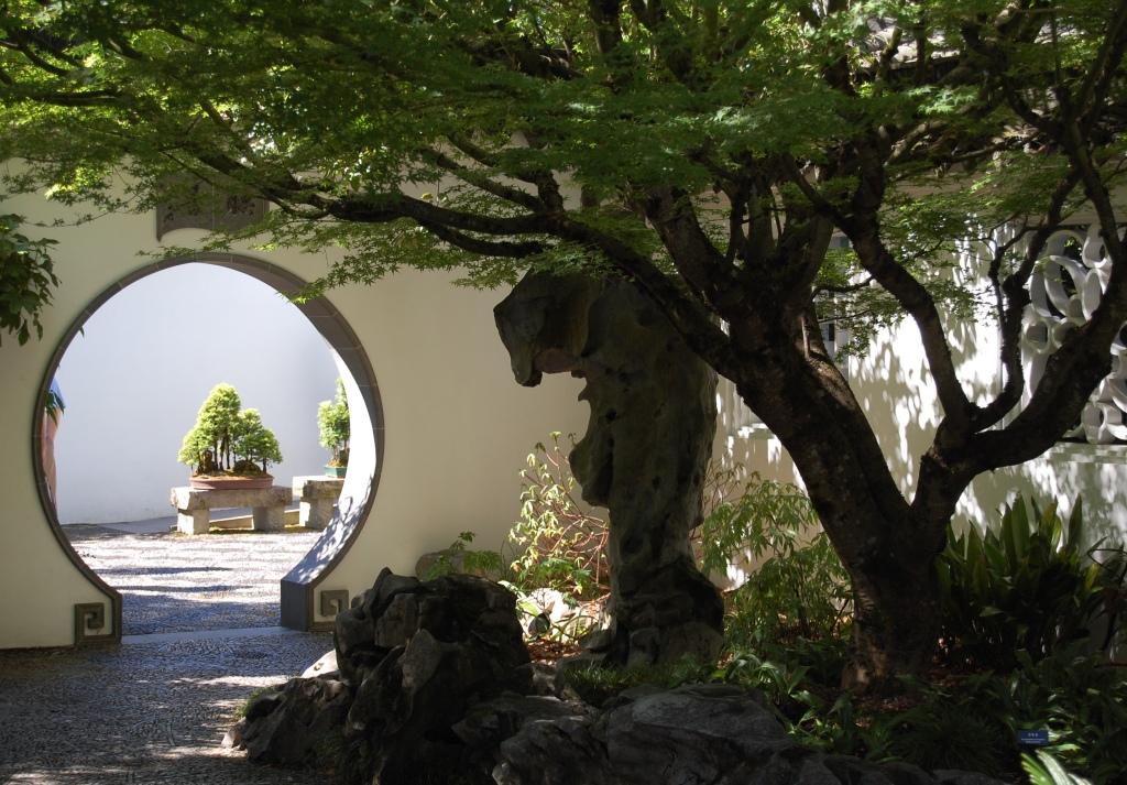 View of Scholar's Garden through archway.