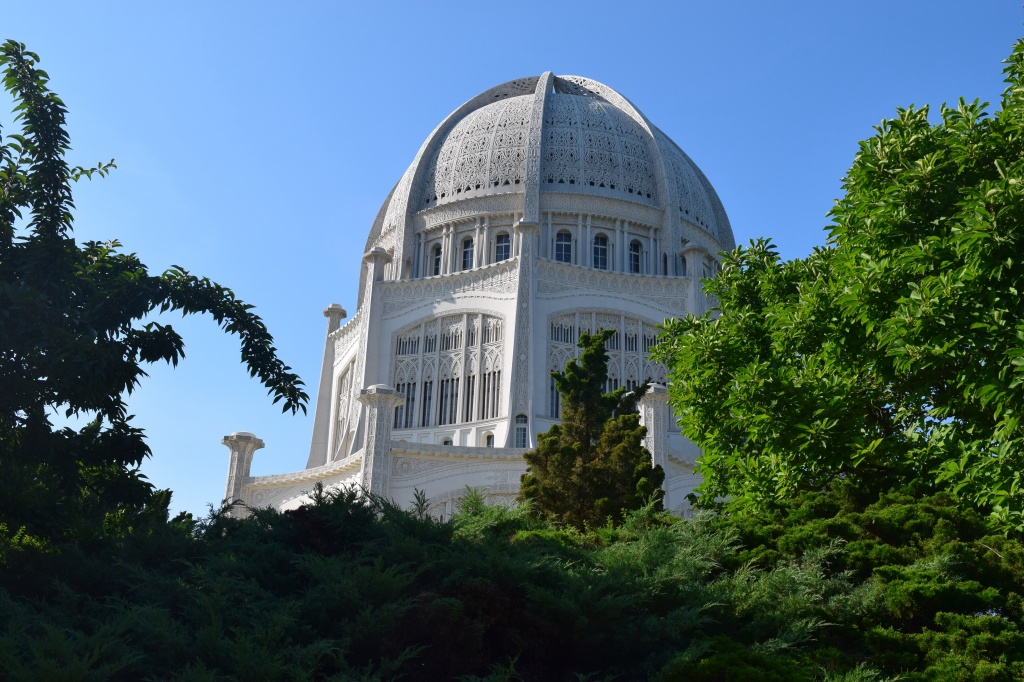 View of the Baha'i Temple from Linden Avenue in Wilmette.