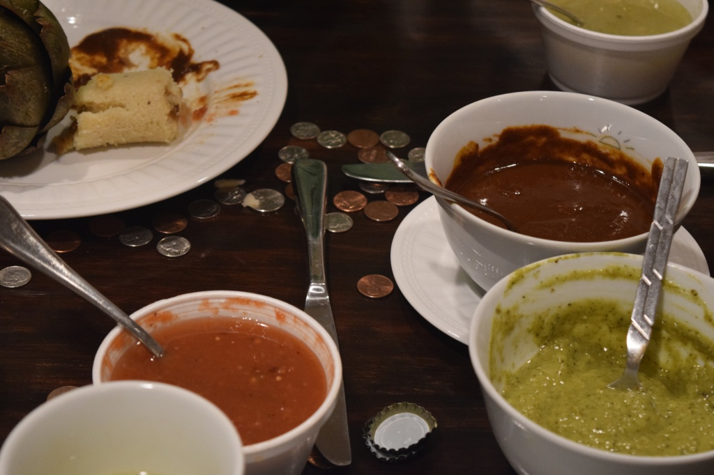 Brown mole and green salsa. The salsas in the styrofoam containers came from Me Gusta, they were ok, but not as good as what we made.