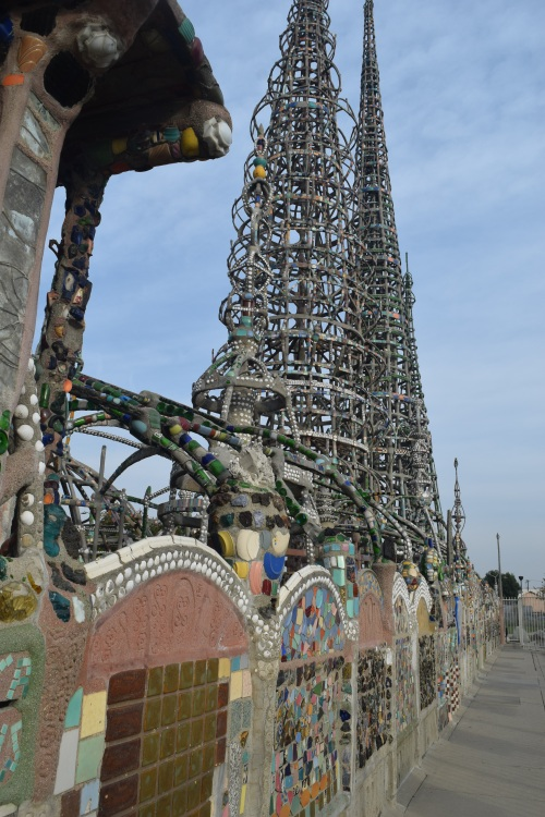 Watts Towers from outside south wall.
