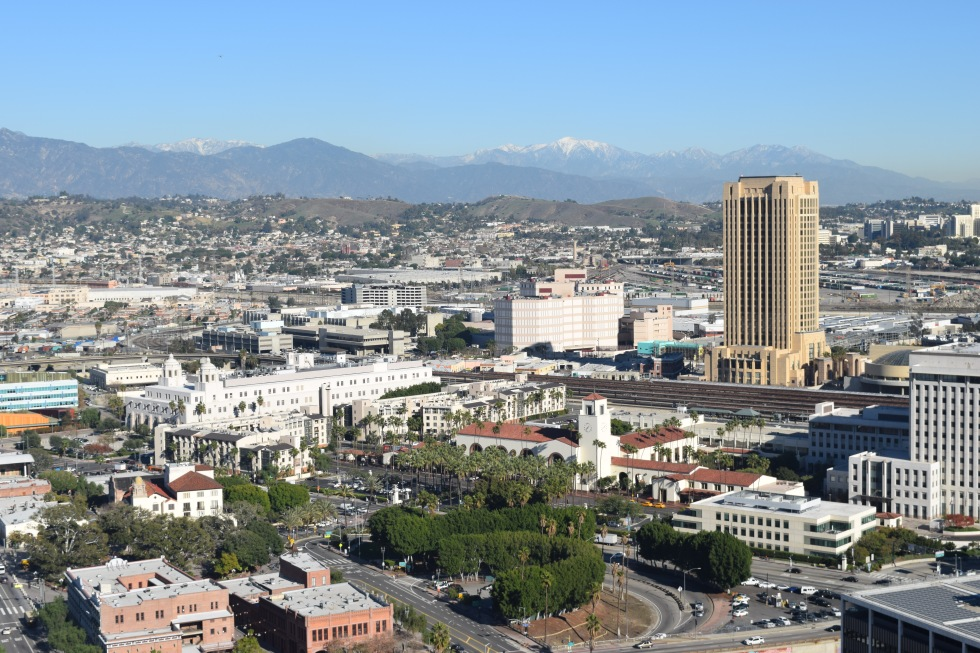 A view of the mountains that encircle LA.