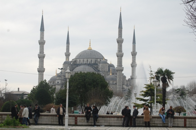 Ayasofya seen from an adjoining park. The minarets were added by the Ottoman Turks.