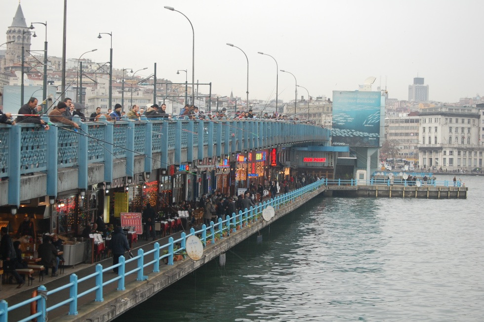 Fishermen on the Galata Bridge.