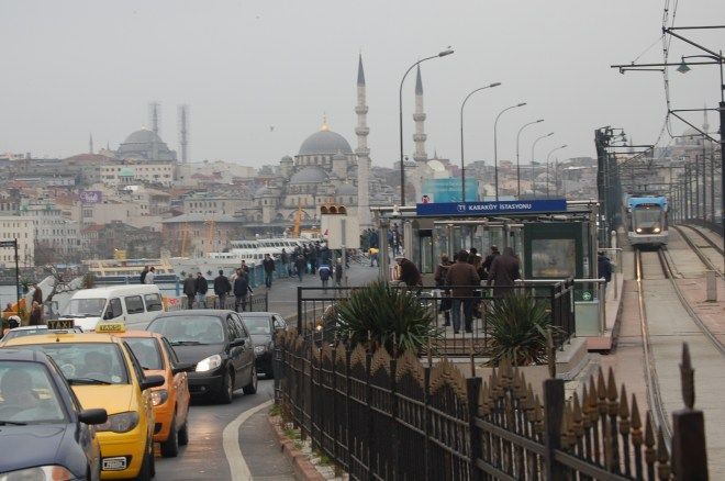 Looking back at the Galata Bridge from the Karakoy side.