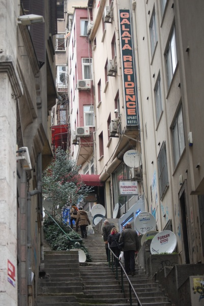 Walking to the Galata Tower.