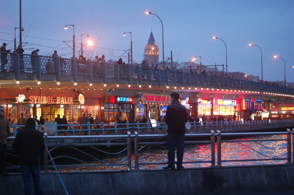 The Galata Bridge and fGalata Tower at Dusk.