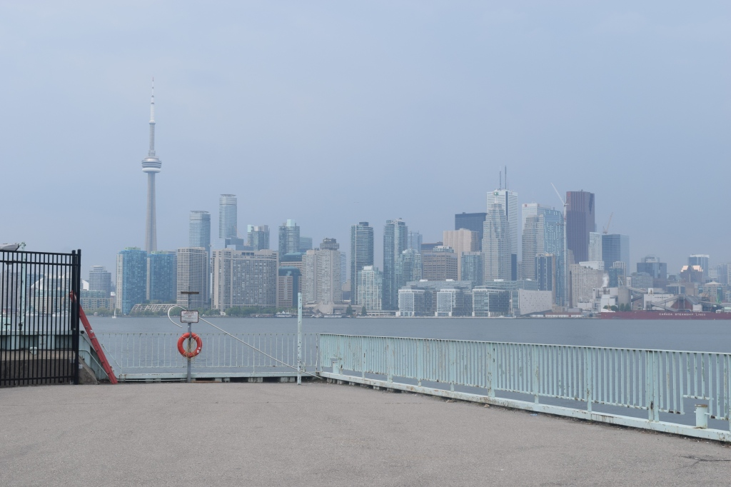 View of downtown Toronto from the Ward Island dock.