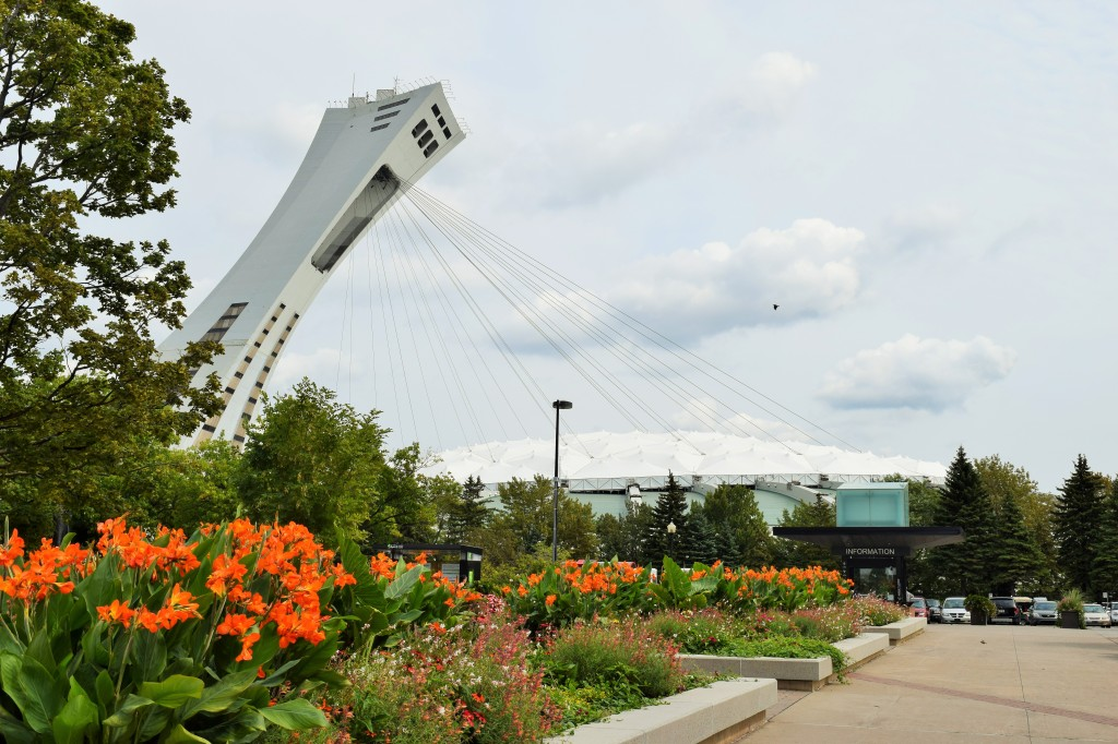 Entrance area of the Montreal Botanic Garden, with the Olympic Stadium looming in the background.